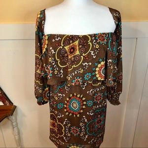 Judith March top tunic dress Sz L brown floral